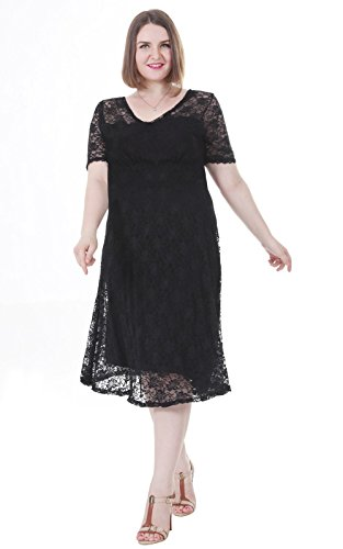 Sapphyra Women's Plus Size Pleated Lace Illusion Stetch Knee Length Midi Dress