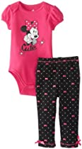 Disney Baby Baby-Girls Infant Minnie 2 Piece Creeper Pant Set, Pink and Polka Dot, 18