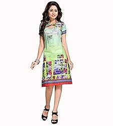 The Ethnic Chic Green Color Cotton Kurti.
