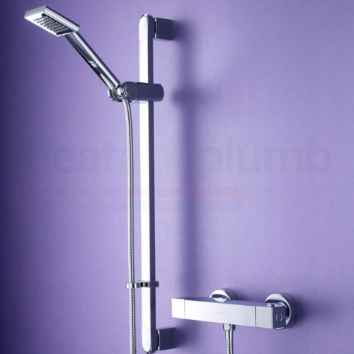Bristan Quadrato Thermostatic Surface Mounted Bar Shower Valve with Adjustable Riser and Fast Fix Connections Chrome