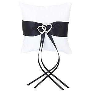 Rhinestone Double-Heart Wedding Ring Pillow Cushion Bearer 10x 10cm---White and Black