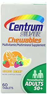 Centrum Silver Multivitamin Supplement, Chewables, Citrus Berry, 60 Count (Pack of 2)