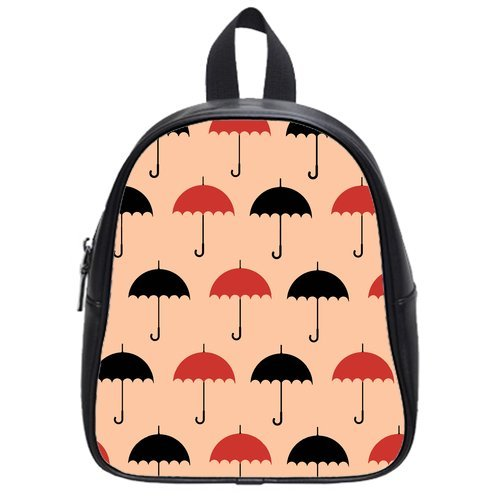 Anhome Cartoon Little Red And Black Umbrella Pink Background Custom School Bag/Backpack front-1043610