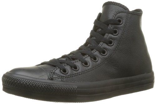 Converse Men's Chuck Taylor Leather High Top Sneaker Black Monochrome (7.5)