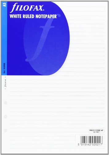 Filofax A5 White Ruled Notepaper Single (Refill)