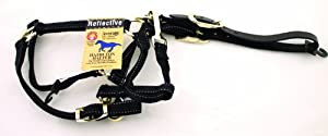 Hamilton Reflective Quality Adjustable Horse Halter with Leather Head Poll, Average Black