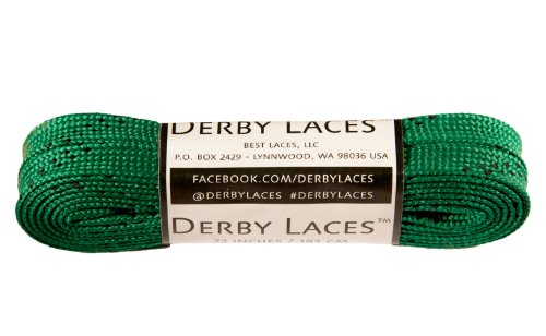 Kelly Green 72 Inch Waxed Skate Lace - Derby Laces for Roller Derby, Hockey and Ice Skates, and Boots