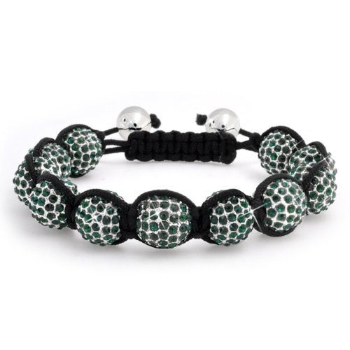 Bling Jewelry Unisex Bracelet Inspired by Cyber Shamballa Jewels Green Crystal Beads 12mm