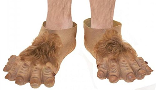 Adults Novelty Fancy Party Fun Rubber Hobbit Feet Furry Adventure Slippers Shoes (Kids Hobbit Feet)