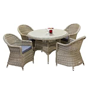 Oseasons Hampton Rattan 4 Seater Round Dining Table And