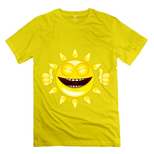 Men Smiling Face T Shirt - Vintage Custom Yellow T-Shirt