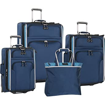 Tommy Bahama Luggage Deep Sea Four Piece Set, Navy/Blue, One Size