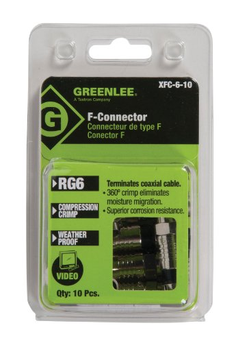 Greenlee XFC-6-10 Weatherproof Compression F-Style Connectors, RG6, 10-Pack