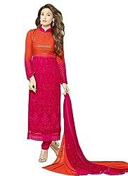 Kmozi's Magenta & Orange Designer Dress Material