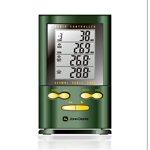 Oregon Scientific's John Deere Wireless Rain Gauge with Indoor/Outdoor Thermometer