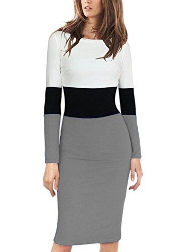 Viwenni Women's Elegant Long Sleeve Colorblock Wear to Work Sheath Pencil Dress (M, Grey)