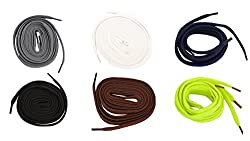 Multi color combo of assorted 6 Flat Shoe laces for sneakers, sport & boot (FF38)