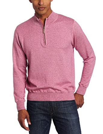 Raffi Linea Uomo Men's 1/4 Zip Mock Neck Sweater, Magenta, Medium