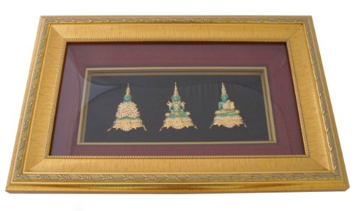 Beautiful Crafts Thai Buddha the Emerald Buddha 3 Seasons Wat Phra Kaew Metalic Art Collage Picture Frames Decorations (Compartment Shift Knob compare prices)