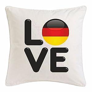 """Kissenbezug 40x40cm """"I LOVE DEUTSCHLAND GERMANY ICH LIEBE DEUTSCHLAND FUSSBALL BERLIN HAMBURG KÖLN LUDWIGSHAFEN FREIBURG"""" aus Mikrofaser in Weiß"""
