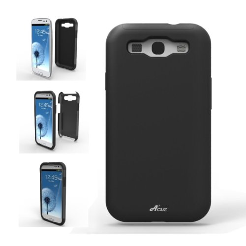 Acase Samsung Galaxy S3 Case - Superleggera PRO Dual Layer Protection (Black/Black) (Fits AT&T, Sprint, T-Mobile and Verizon)