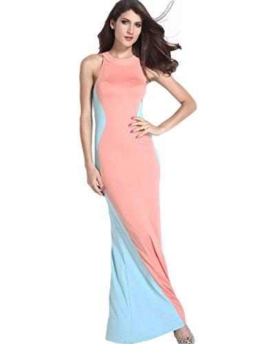 Mfrannie® Women'S Jewel Neck Sleeveless Contrast Color Asymmetric Dress Pink Blue