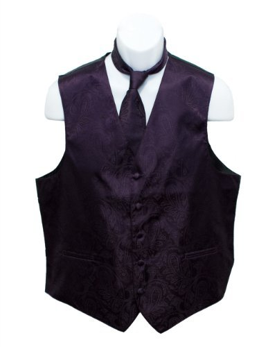 Fine Brand Shop Men's Dark Purple Paisley Jacquard Suit Vest and Neck Tie Set - XXXX-Large