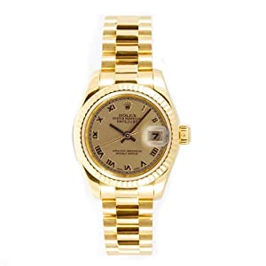 Rolex Ladys President New Style Heavy Band 18k Yellow Gold Model 179178 Fluted Bezel Champagne Roman Dial