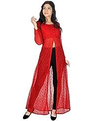 Yogalz Women Red Color Net Kuri Ladies Casual Wear Party Wear Kurta