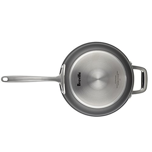 """Breville Thermal Pro Hard-Anodized Nonstick 12"""" Fry Pan with Helper Handle, Medium, Gray"""