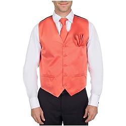 VTHA-ADF-44-5XL - Vest, Necktie, Bow Tie and Hanky Set - Coral