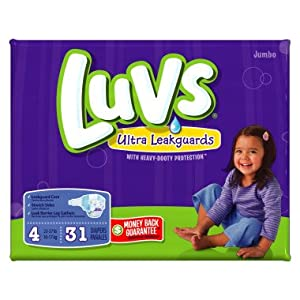 LUVS DIAPERS JUMBO PACK SIZE 4 - 31 CT