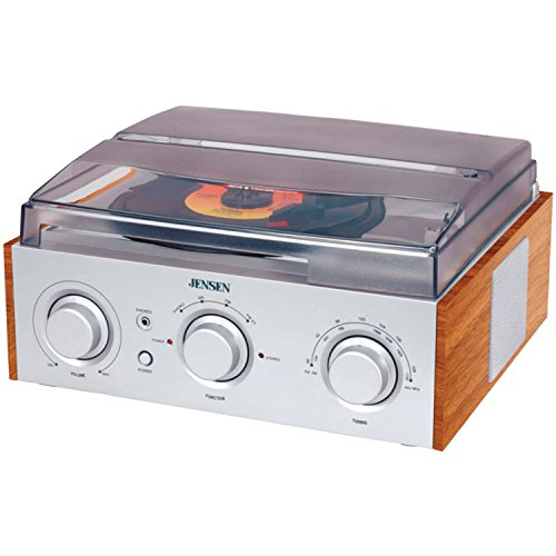 Jensen 3-Speed Stereo Turntable with AM/FM Stereo Radio (Silver) (Turntable Am Fm compare prices)