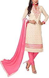 Angel Fashion Studio Women's Chanderi Unstitched Dress Material (Cream)