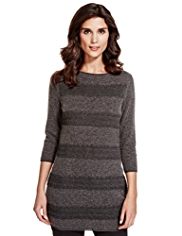 Per Una Crochet Lace Striped Knitted Tunic with Angora