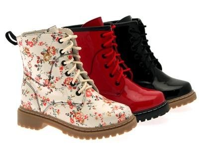 KIDS GIRLS FLAT LACE UP ANKLE BOOTS LACES PATENT FLORAL FAUX LEATHER SHOES sizes 10- 2