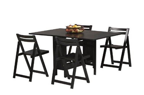 5pc Dinette Dining Table and Folding Chairs Set in Black Finish