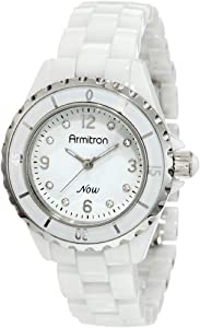 Armitron Women's 753920WTSV Swarovski Crystal NOW Silver-Tone and White Ceramic Bracelet Watch
