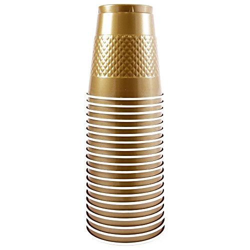 JAM Paper® Tablewares - Plastic Party Cups - 12 oz - Gold - 20 Cups per Pack