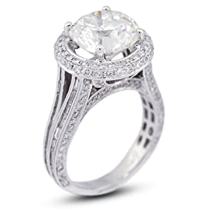 8.77 CT Excellent Cut Round J-VS2 GIA Certified Diamond 18k Gold Split Shank Engagement Ring 9.04gr