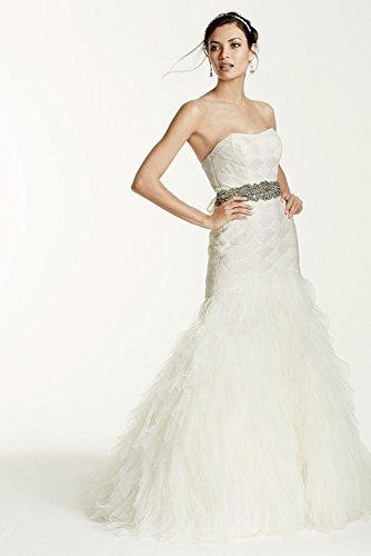 Extra Length Wedding Dress with Basket Woven Bodice Style 4XLSWG523, Ivory, 6