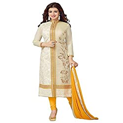 ZHot Fashion Women's Embroidered un-stitched Dress Material In Cotton Fabric (ZHASW1001A) Beige and Yellow