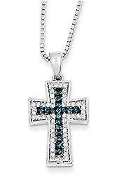 Sterling Silver Blue & White Diamond Pendant Necklace