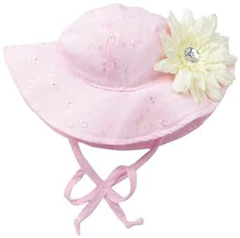 Flap Happy Baby Girls' Upf 50+ Floppy Hat with Flower, Pink Eyelet/White Flower, Medium