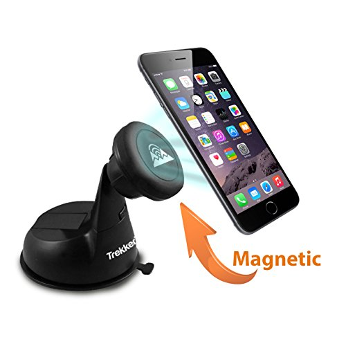 Universal Car Phone Mount - PhoneRider (TM) - The Ultimate Cell Phone Mount Holder For Travel & Home Use | Best Grip to Dashboard, Windshield, Desk etc. | Strongest Magnetic Head Securely Mounts Mobil