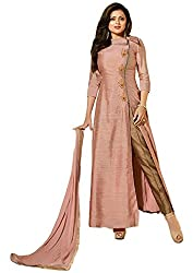Sanchey Beige Embroidered Silk Dress Material