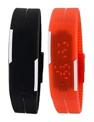 Felizo Combo Offer - Set Of 2 Black & Red Unisex Digital Led Watch For Boys & Girls
