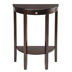 Collection Half Moon Round Hall Table Espresso Kitchen Dining