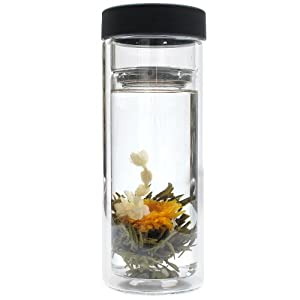 double walled glass tea tumbler with infuser 16 ounce teacups kitchen dining. Black Bedroom Furniture Sets. Home Design Ideas