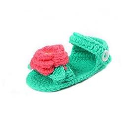 Bigood Baby Infant Velvet Flower Crochet Knit Slippers Sandles Shoes 11cm Aqua